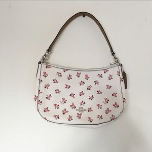 Coach White Pink Rosebud Leather Bag w Two Straps
